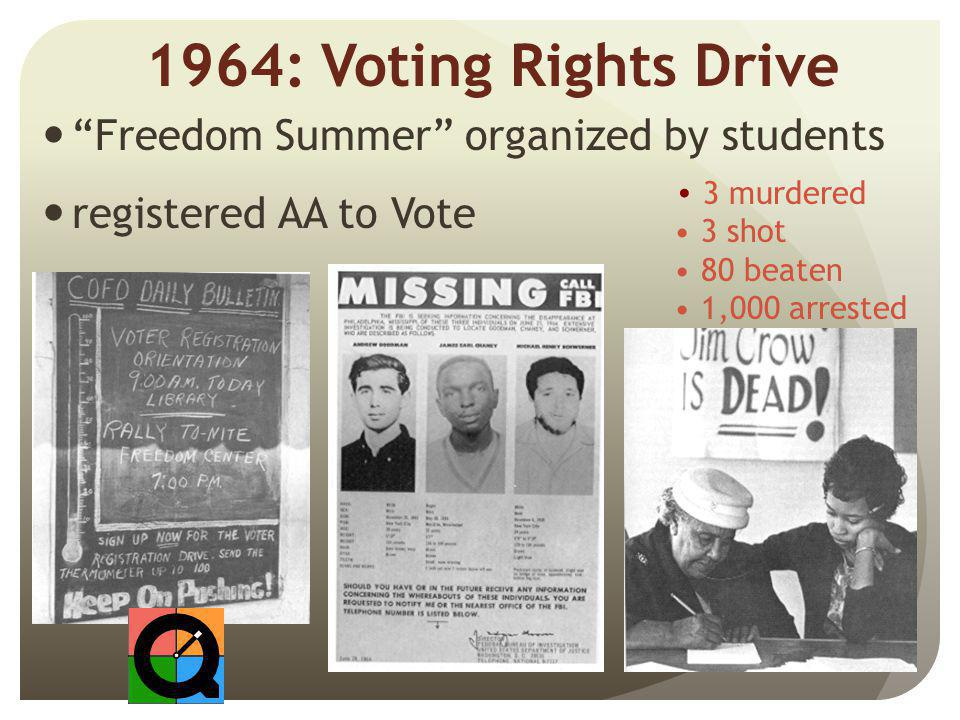 1964: Voting Rights Drive Freedom Summer organized by students