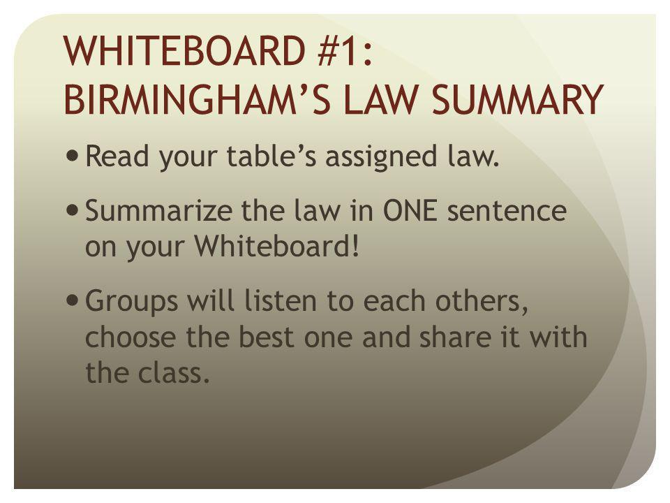 WHITEBOARD #1: BIRMINGHAM'S LAW SUMMARY
