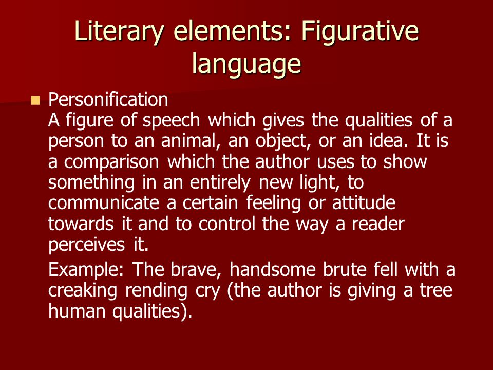 Literary elements: Figurative language