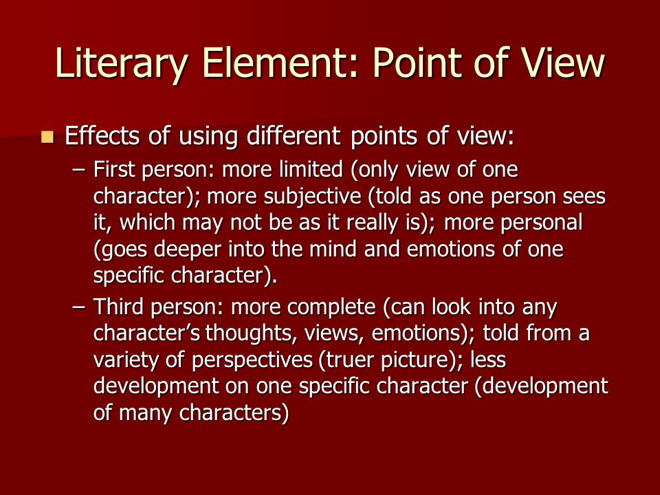 Literary Element: Point of View