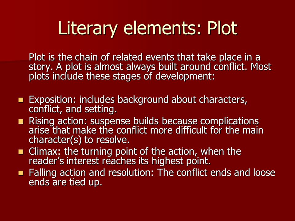 Literary elements: Plot