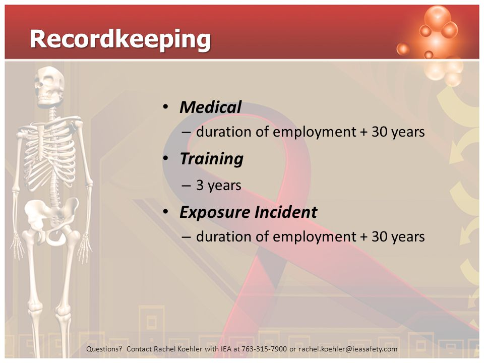 Recordkeeping Medical Training Exposure Incident