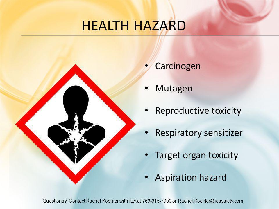 Health Hazard Carcinogen Mutagen Reproductive toxicity