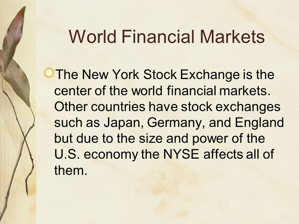 World Financial Markets