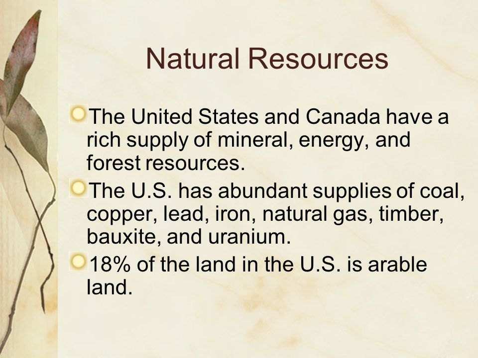 Natural Resources The United States and Canada have a rich supply of mineral, energy, and forest resources.