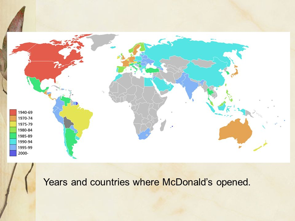 Years and countries where McDonald's opened.