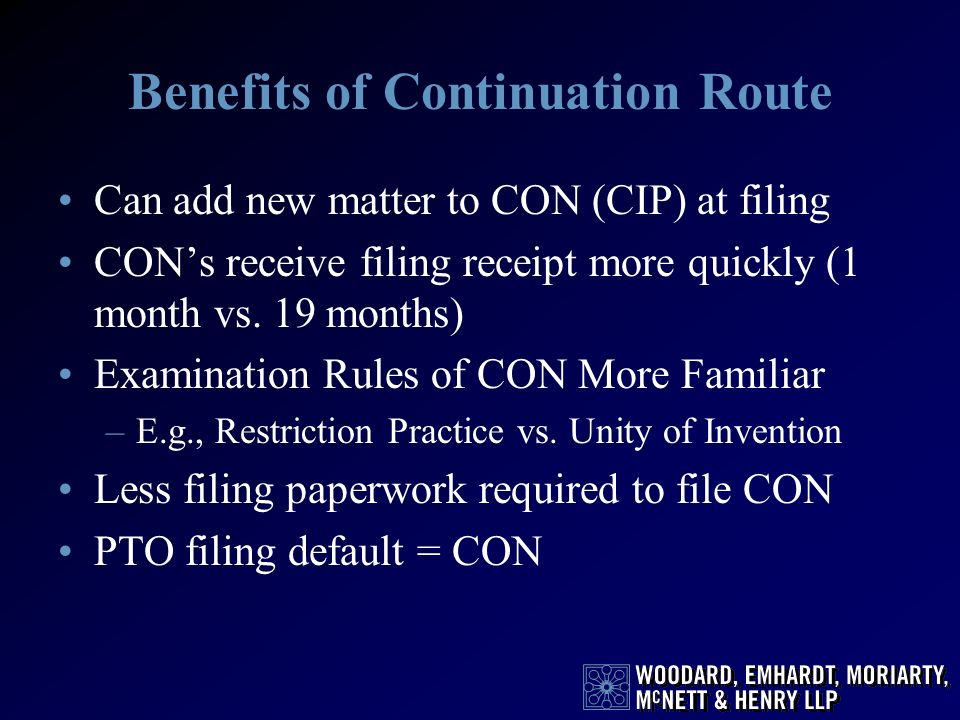 Benefits of Continuation Route