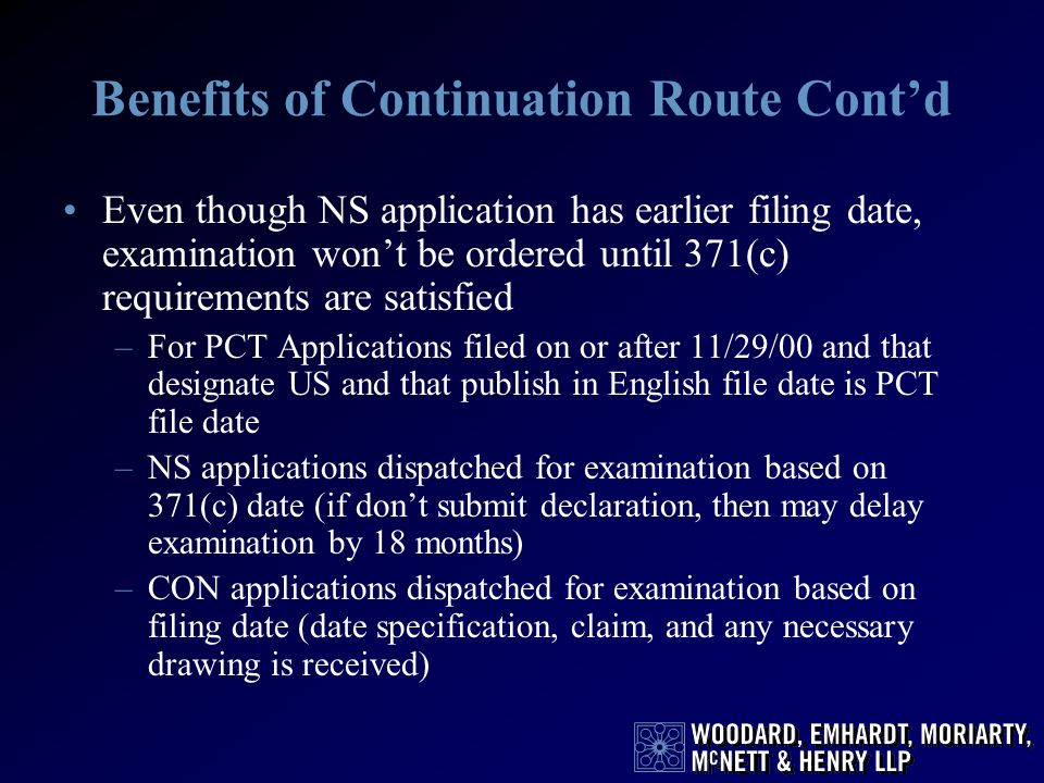 Benefits of Continuation Route Cont'd