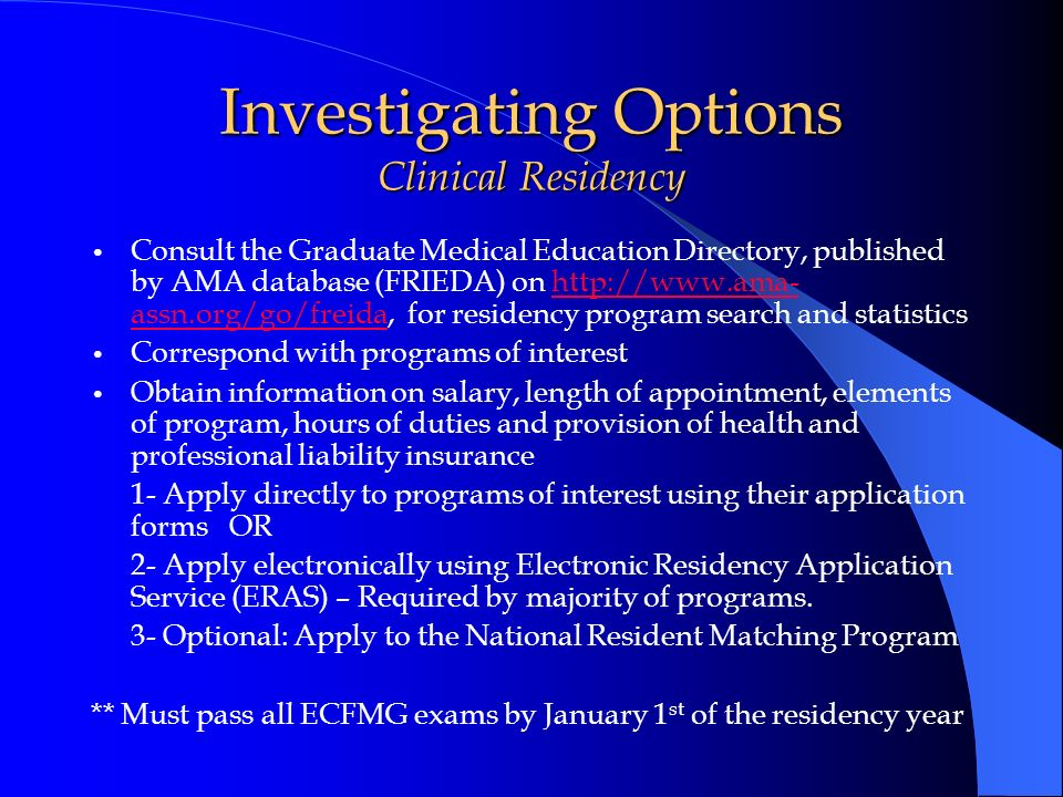 Investigating Options Clinical Residency