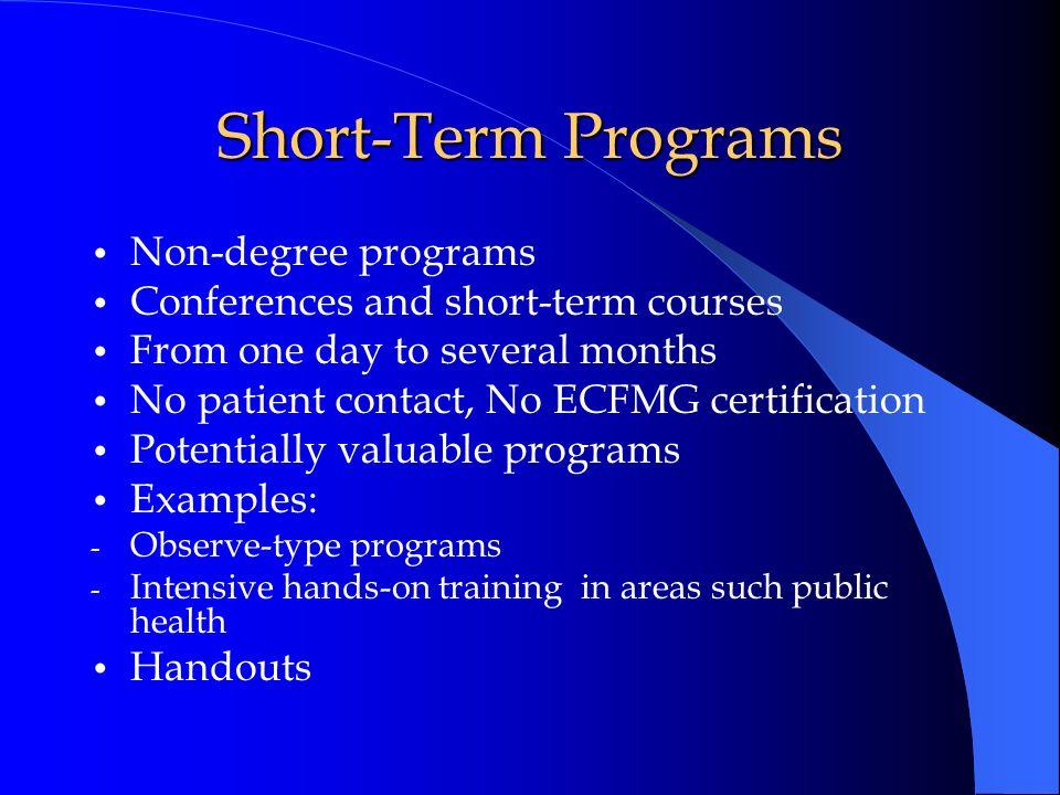 Short-Term Programs Non-degree programs