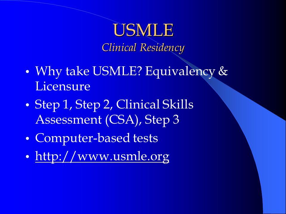 USMLE Clinical Residency