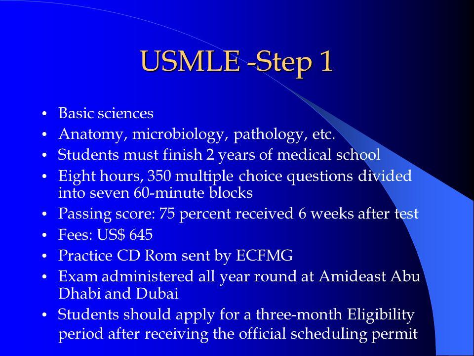 USMLE -Step 1 Basic sciences Anatomy, microbiology, pathology, etc.