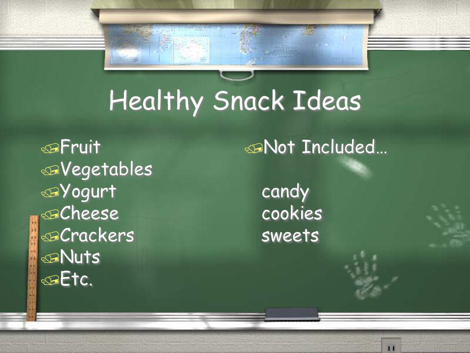 Healthy Snack Ideas Fruit Vegetables Yogurt Cheese Crackers Nuts Etc.