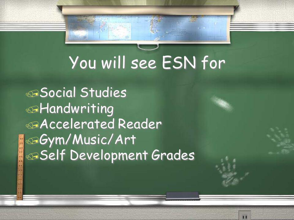 You will see ESN for Social Studies Handwriting Accelerated Reader