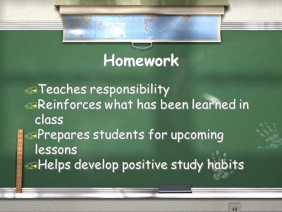 Homework Teaches responsibility