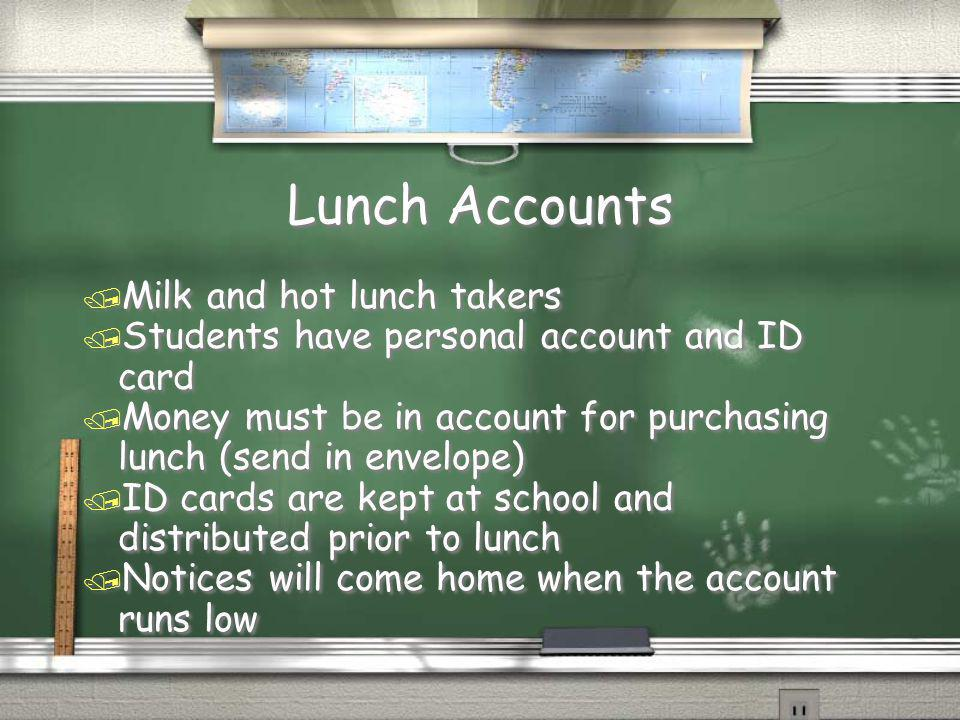 Lunch Accounts Milk and hot lunch takers