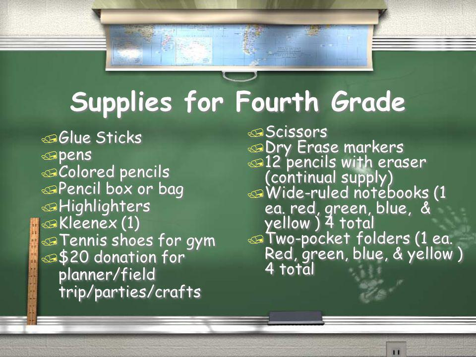 Supplies for Fourth Grade