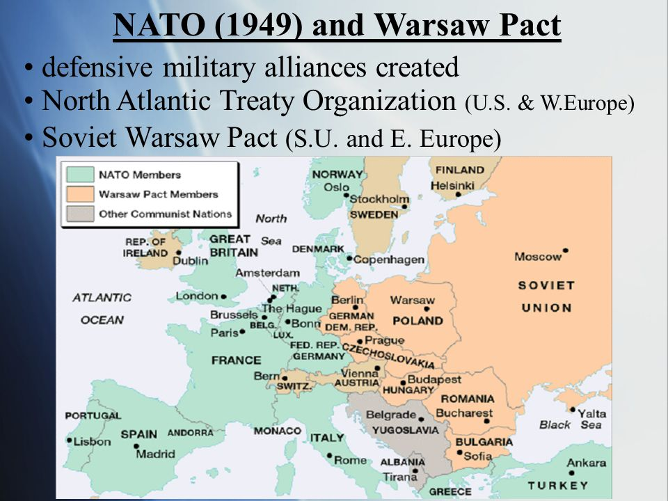 NATO (1949) and Warsaw Pact defensive military alliances created