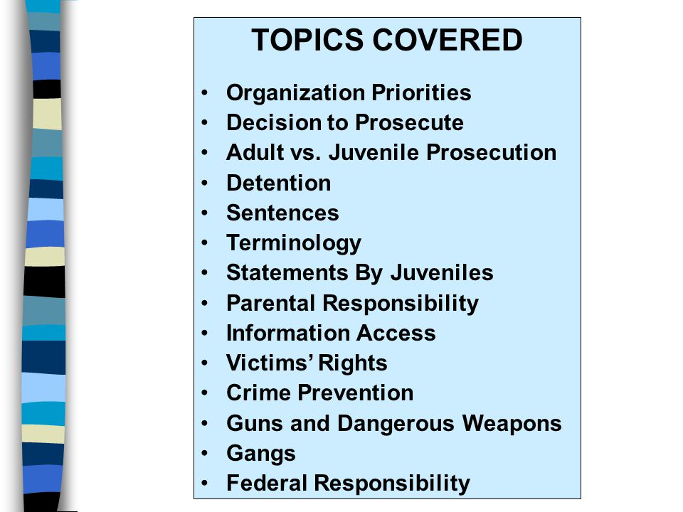 TOPICS COVERED Organization Priorities Decision to Prosecute