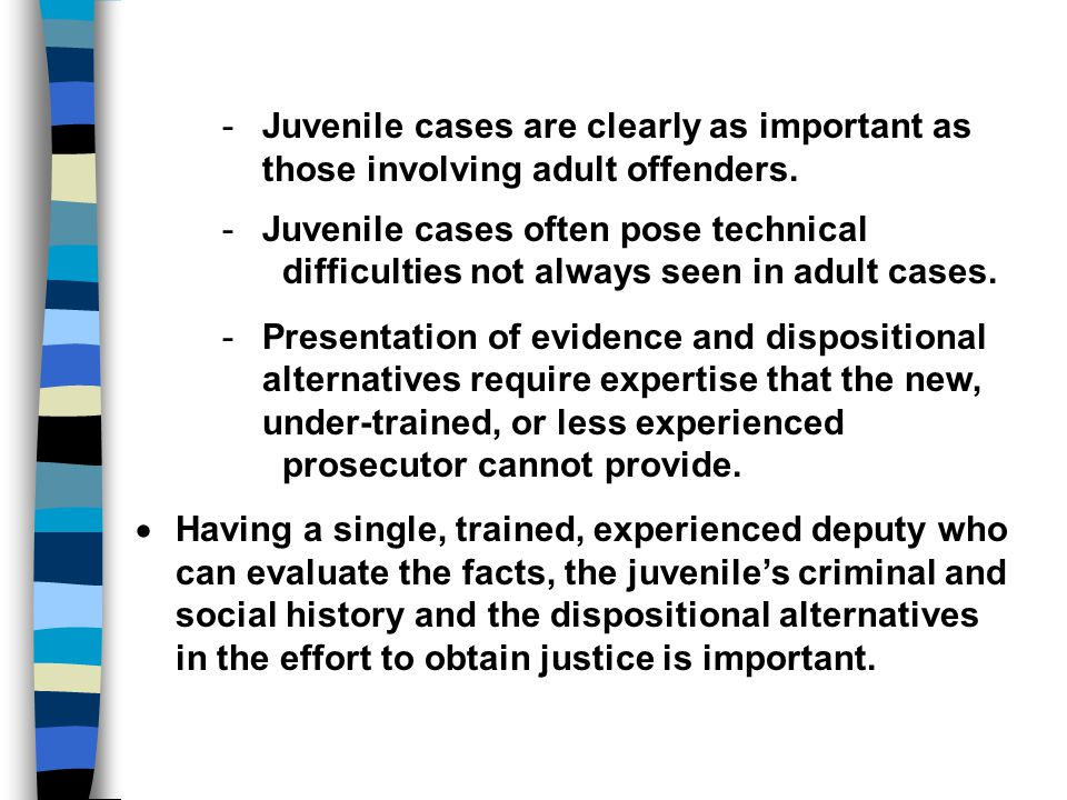 - Juvenile cases are clearly as important as those involving adult offenders.