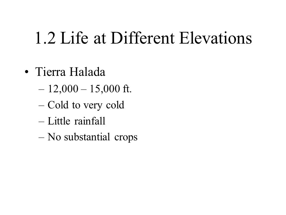 1.2 Life at Different Elevations