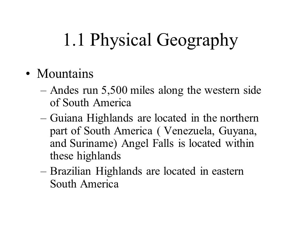 1.1 Physical Geography Mountains