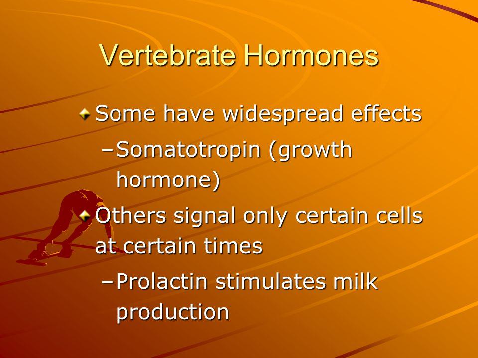 Vertebrate Hormones Some have widespread effects
