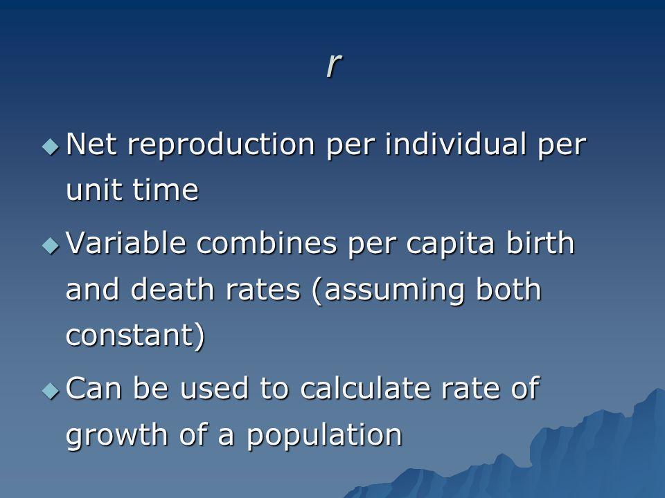 r Net reproduction per individual per unit time