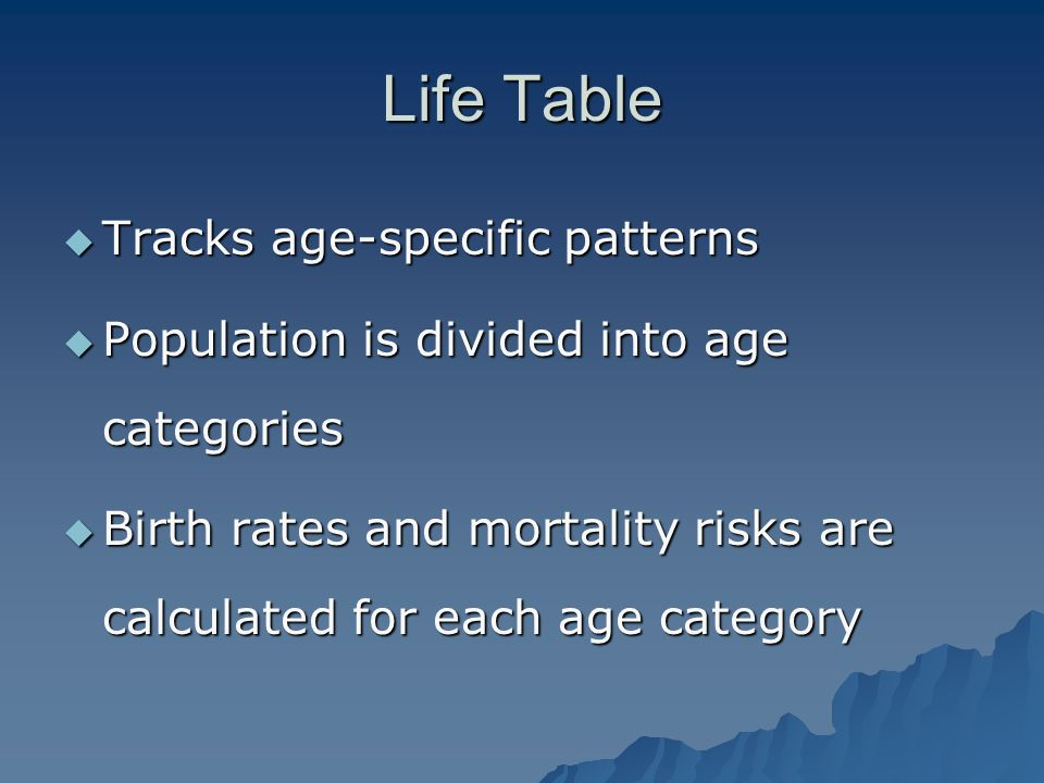 Life Table Tracks age-specific patterns