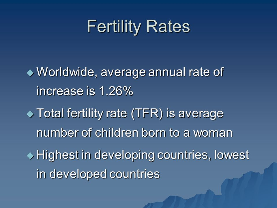 Fertility Rates Worldwide, average annual rate of increase is 1.26%