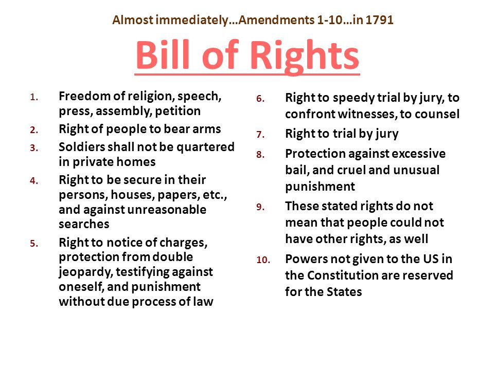 Almost immediately…Amendments 1-10…in 1791 Bill of Rights