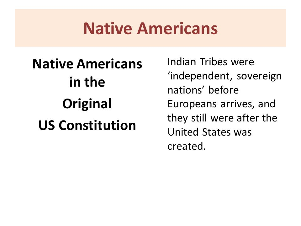 Native Americans in the Original US Constitution