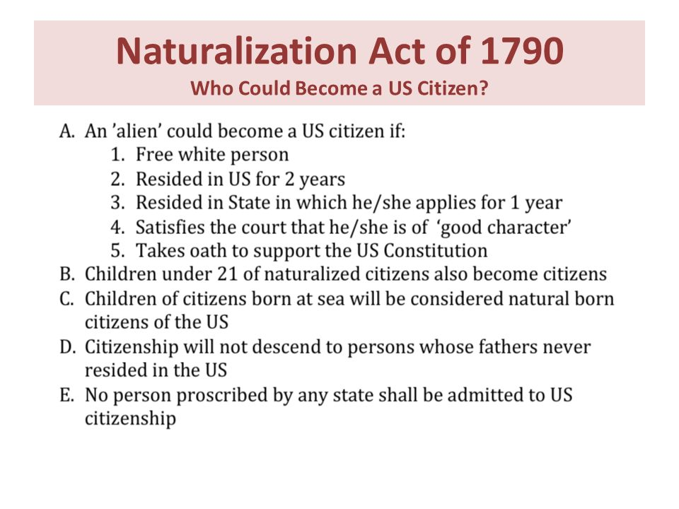 Naturalization Act of 1790 Who Could Become a US Citizen