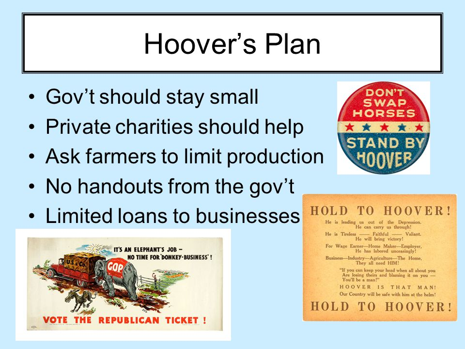 Hoover's Plan Gov't should stay small Private charities should help