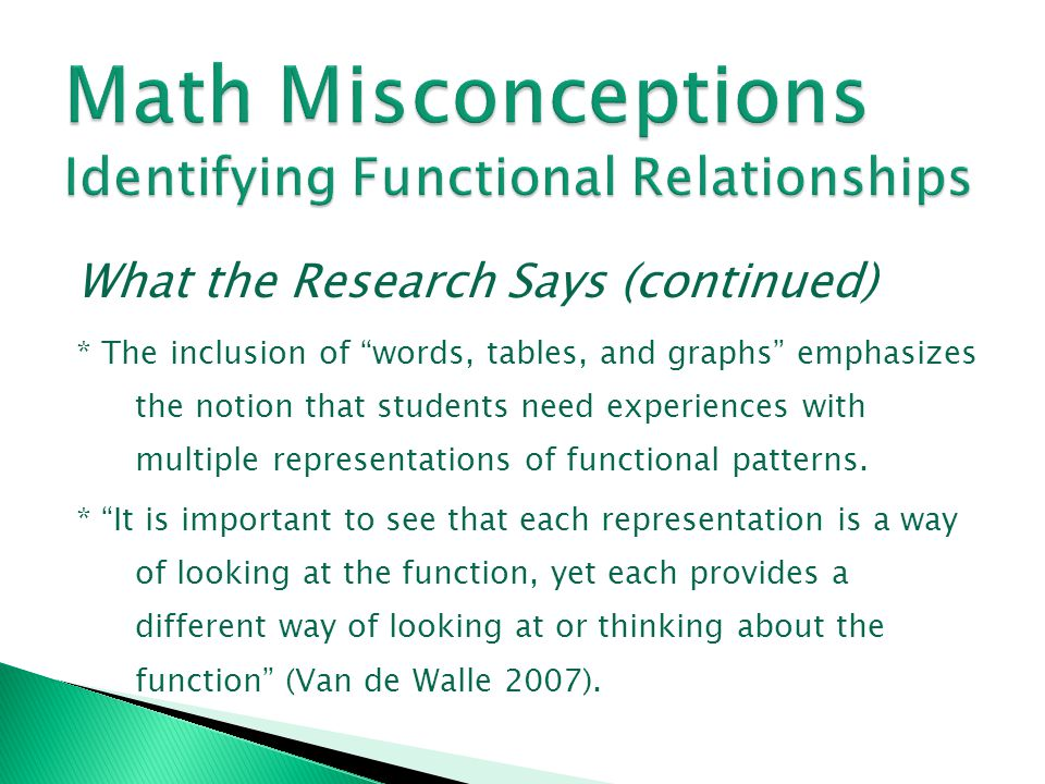 Math Misconceptions Identifying Functional Relationships