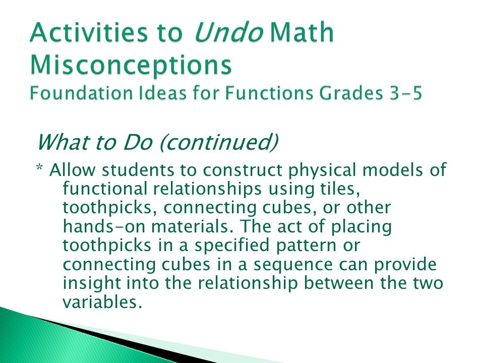 Activities to Undo Math Misconceptions Foundation Ideas for Functions Grades 3-5