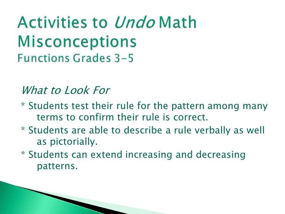 Activities to Undo Math Misconceptions Functions Grades 3-5