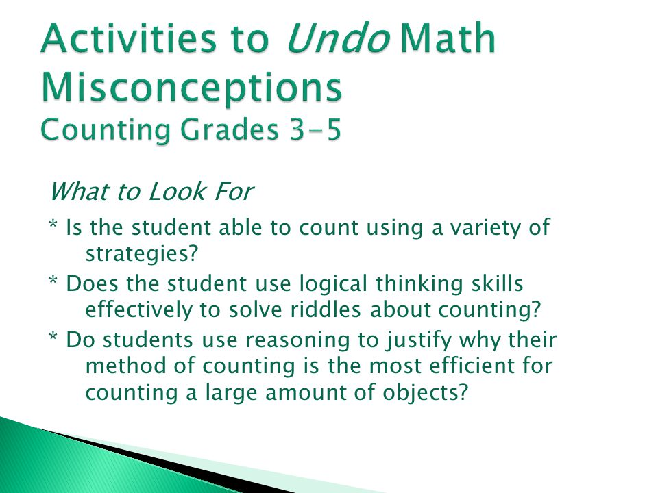 Activities to Undo Math Misconceptions Counting Grades 3-5