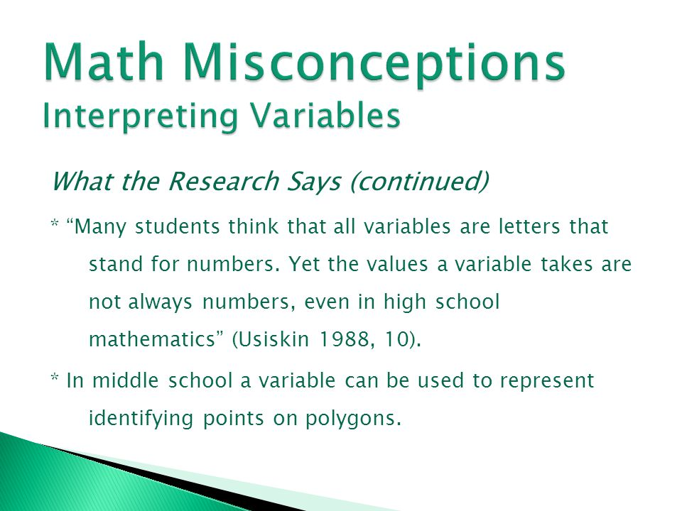 Math Misconceptions Interpreting Variables