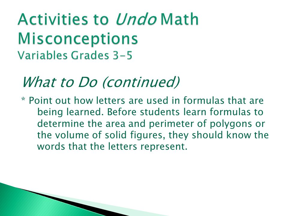 Activities to Undo Math Misconceptions Variables Grades 3-5