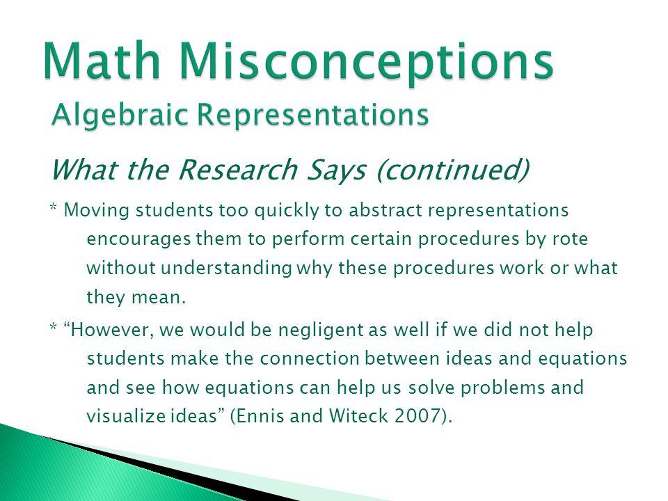 Math Misconceptions Algebraic Representations