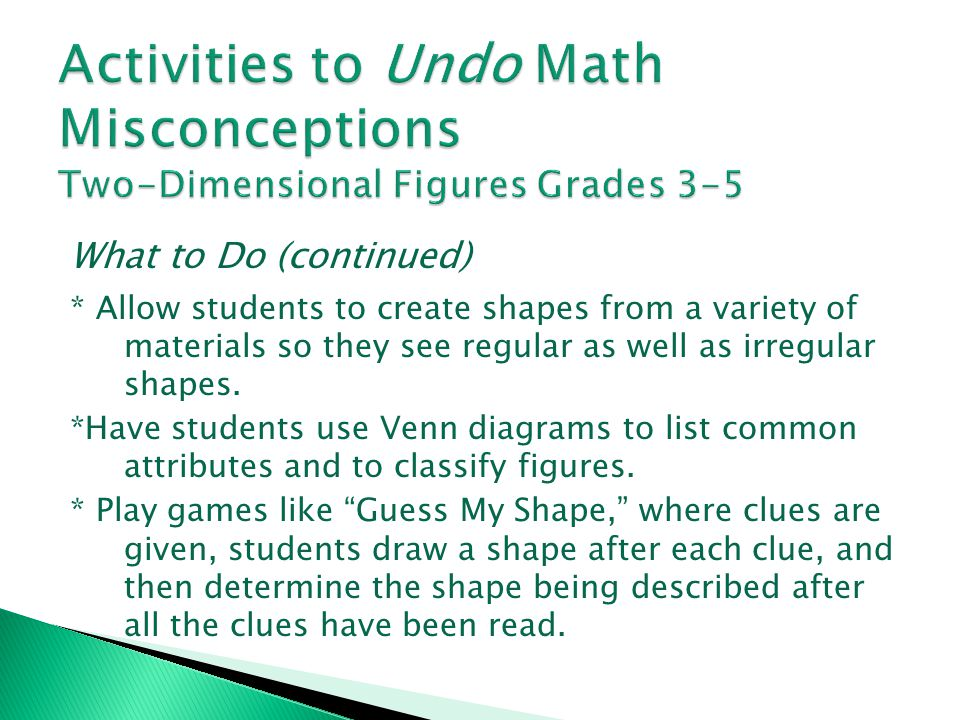 Activities to Undo Math Misconceptions Two-Dimensional Figures Grades 3-5