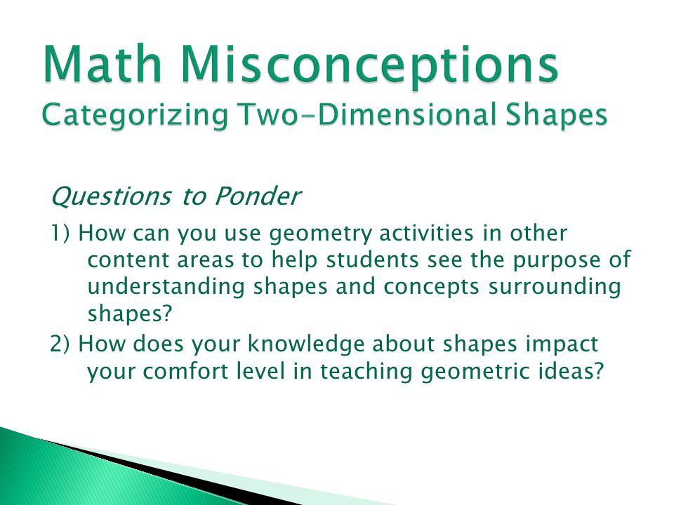 Math Misconceptions Categorizing Two-Dimensional Shapes