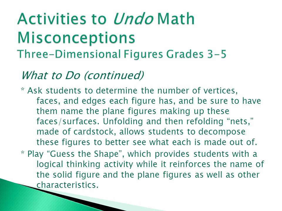 Activities to Undo Math Misconceptions Three-Dimensional Figures Grades 3-5