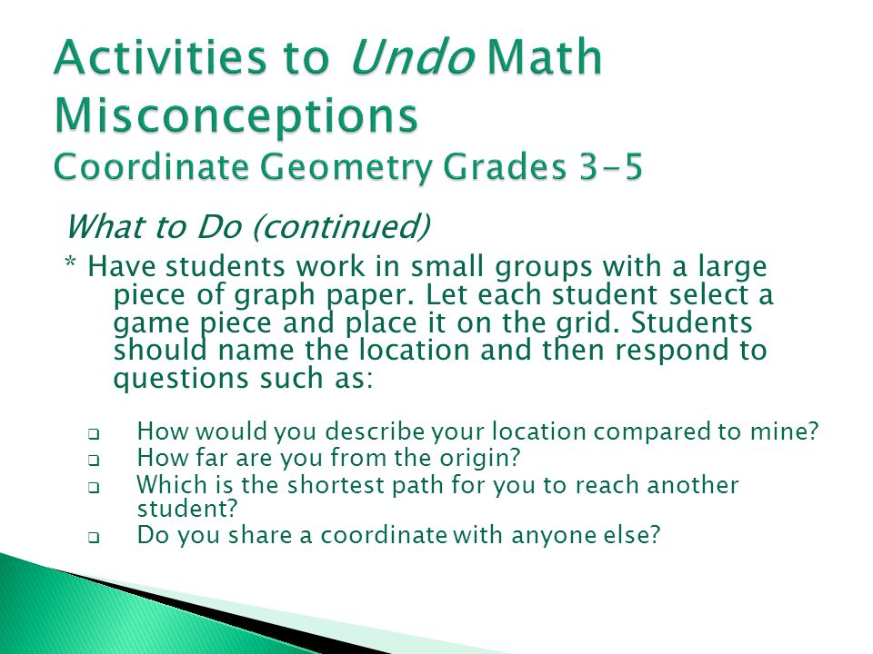 Activities to Undo Math Misconceptions Coordinate Geometry Grades 3-5