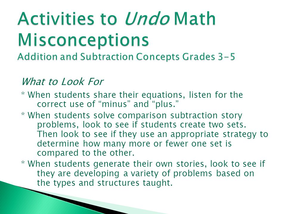 Activities to Undo Math Misconceptions Addition and Subtraction Concepts Grades 3-5