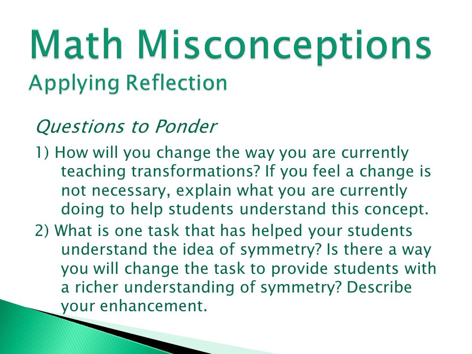 Math Misconceptions Applying Reflection