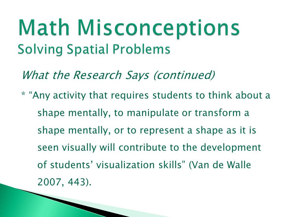 Math Misconceptions Solving Spatial Problems