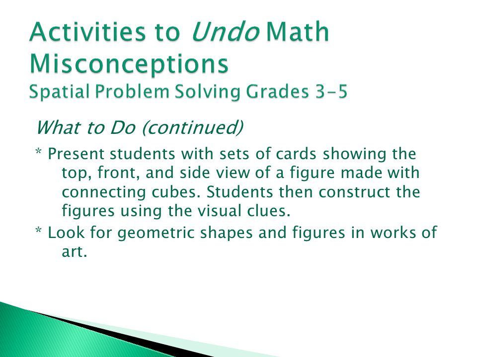 Activities to Undo Math Misconceptions Spatial Problem Solving Grades 3-5