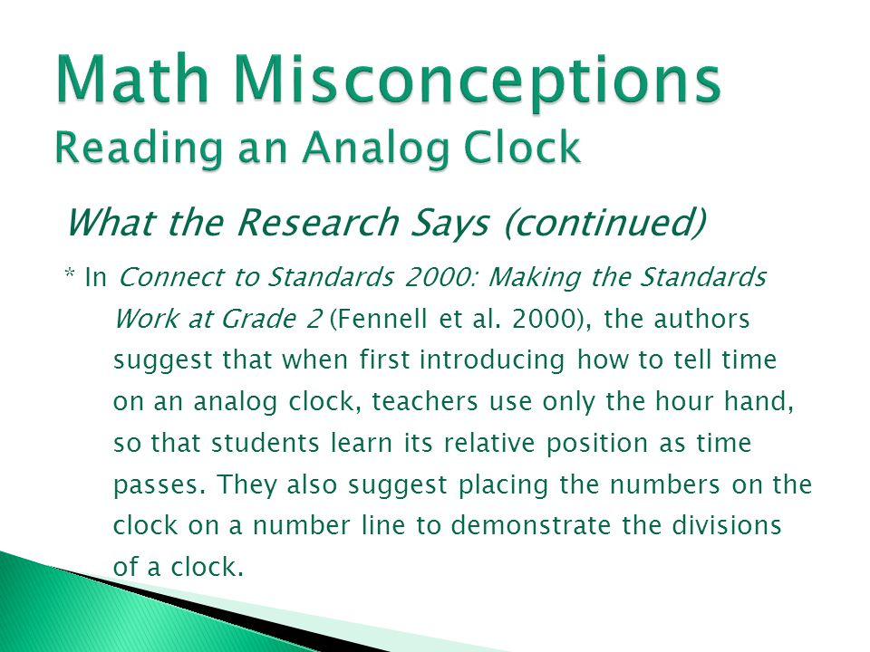 Math Misconceptions Reading an Analog Clock